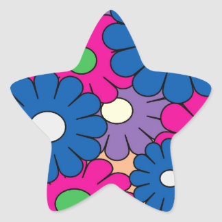 Colorful popart flowers pattern sticker