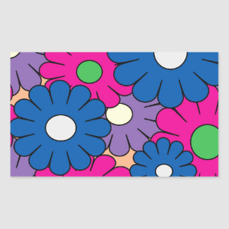 Colorful popart flowers pattern sticker