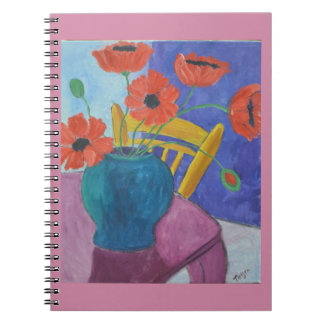 Colorful Poppy Painting Spiral Notebook