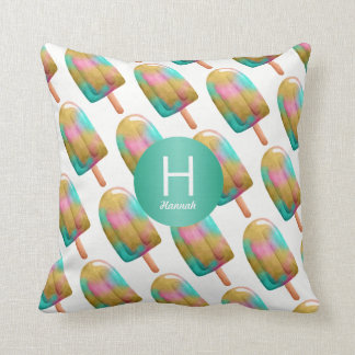 Colorful Popsicle Pattern with Your Monogram Cushion