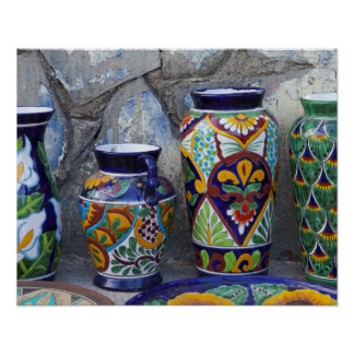 Colorful pottery for sale in downtown Loreto, Poster