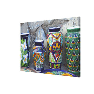 Colorful pottery for sale in downtown Loreto, Stretched Canvas Print