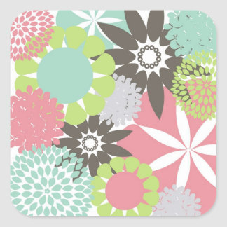 Colorful Pretty Floral Flower Pattern Square Sticker