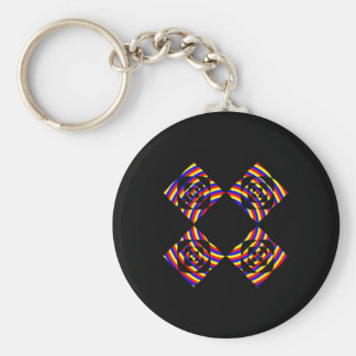 Colorful Primary Stripe Flowers. On Black. Key Chain
