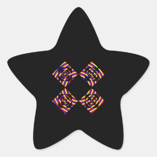 Colorful Primary Stripe Flowers. On Black. Star Sticker