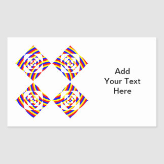 Colorful Primary Stripe Flowers. On White. Rectangular Sticker