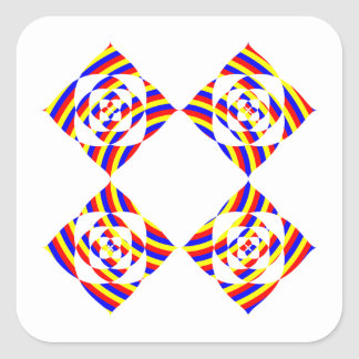 Colorful Primary Stripe Flowers. On White. Square Sticker
