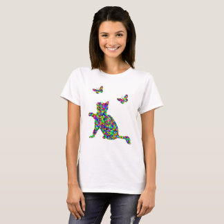 Colorful Prismatic Cat And Butterflies Novelty Tee