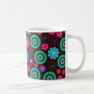 Colorful Psychedelic Funky Flower Pattern Basic White Mug