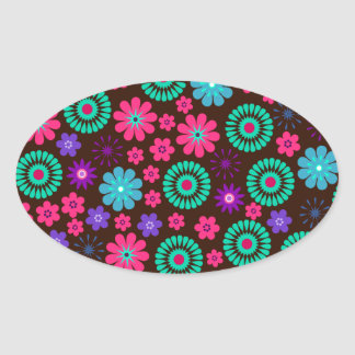 Colorful Psychedelic Funky Flower Pattern Oval Sticker