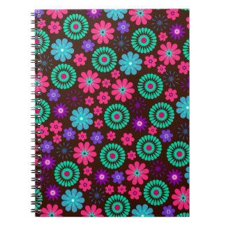 Colorful Psychedelic Funky Flower Pattern Spiral Note Books