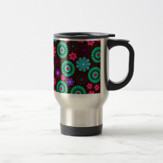 Colorful Psychedelic Funky Flower Pattern Stainless Steel Travel Mug
