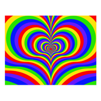 Colorful Psychedelic Love Postcard