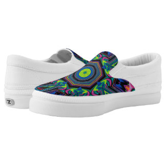 Colorful Psychedelic Neon Abstract Slip On Shoes