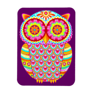 Colorful Psychedelic Owl Art Premium Magnet