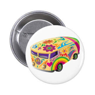Colorful Psychedelic Painted Bus 6 Cm Round Badge