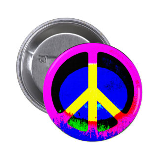 Colorful Psychedelic Peace Sign Round Button