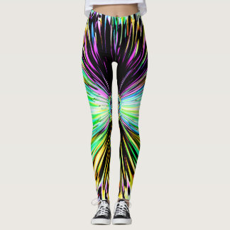 Colorful psychedelic sketch of a flower 2 leggings