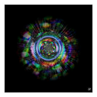 Colorful psychedelic sketch of an eye poster