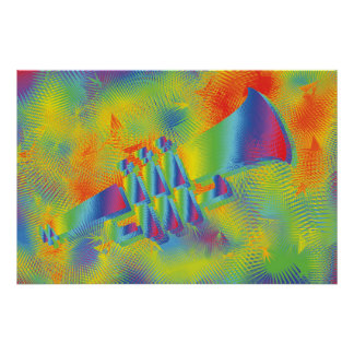 Colorful Psychedelic Style Trumpet Poster