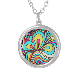 Colorful Psychedelic Swirls Silver Plated Necklace