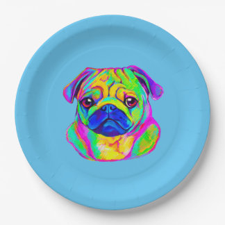 Colorful Pug 9 Inch Paper Plate