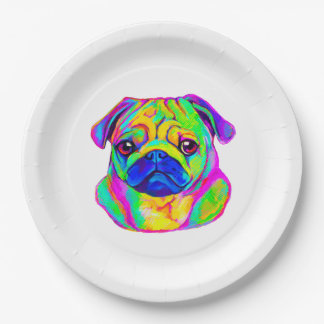 Colorful Pug Paper Plate