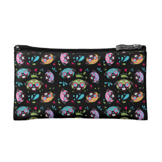 Colorful Pug Sugar Skulls Pattern Cosmetic Bag