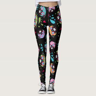 Colorful Pug Sugar Skulls Pattern Leggings