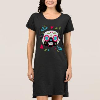 Colorful Pug Sugar Skulls White Face Dress