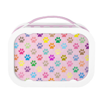 Colorful puppy paw prints lunch box