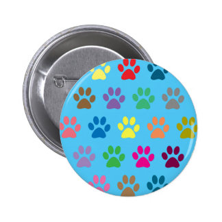 Colorful puppy paws print 6 cm round badge