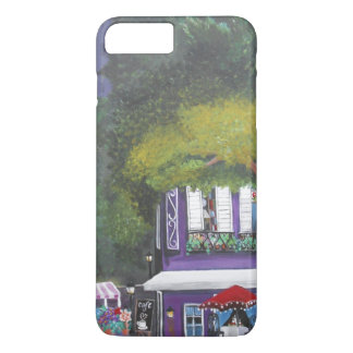 Colorful purple cafe with flower cart painting iPhone 7 plus case