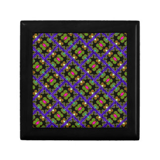 Colorful Purple & Green Mexican Style Small Square Gift Box