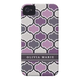 Colorful Purple Lattice Pattern with Name Case-Mate iPhone 4 Cases