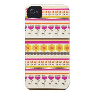 Colorful Purple Orange Flowers Striped Borders iPhone 4 Cases