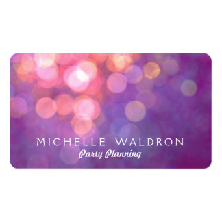 Colorful Purple Party Planner Bokeh Pack Of Standard Business Cards