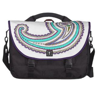 Colorful Purple Teal Floral Vintage Paisley White Commuter Bag