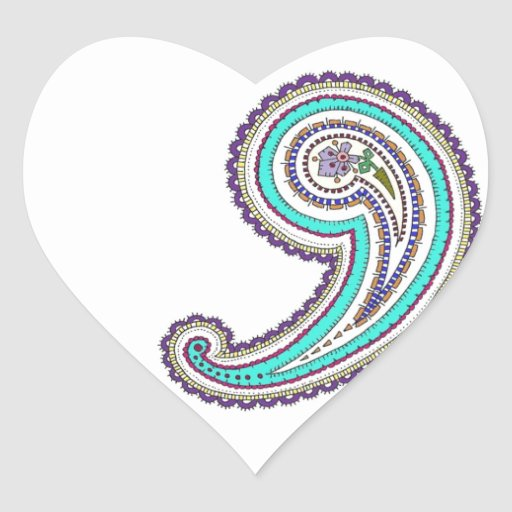 Colorful Purple Teal Floral Vintage Paisley White Heart Stickers