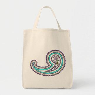 Colorful Purple Teal Vintage Paisley Reusable Bag