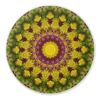 Colorful Purple, Yellow,  and Green Floral Mandala Ceramic Knob