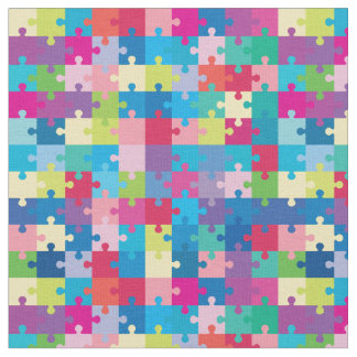 Colorful Puzzle Pattern Autism Awareness Fabric