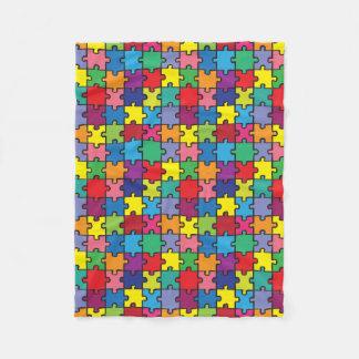 Colorful Puzzle Pattern Autism Awareness Fleece Blanket