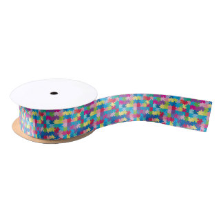 Colorful Puzzle Pattern Autism Awareness Satin Ribbon