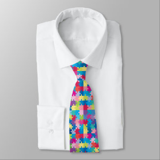 Colorful Puzzle Pattern Autism Awareness Tie