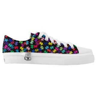Colorful Puzzle Pieces Autism Awareness Low Tops