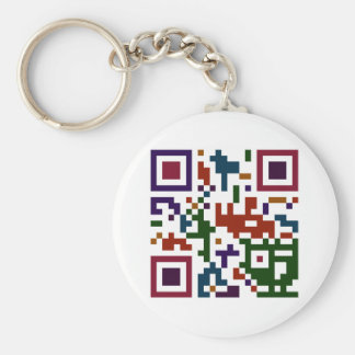 Colorful QP Code Basic Round Button Key Ring