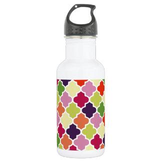 Colorful quatrefoil pattern 532 ml water bottle
