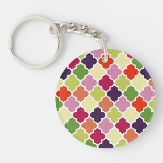 Colorful quatrefoil pattern Double-Sided round acrylic key ring