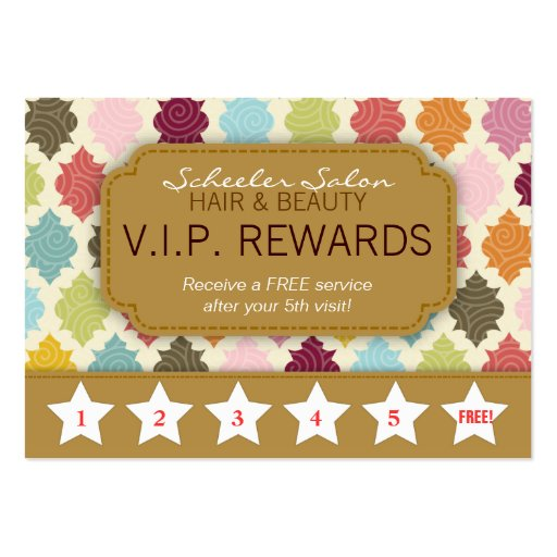 Colorful Quatrefoil - Salon Loyalty Rewards Card Business Cards